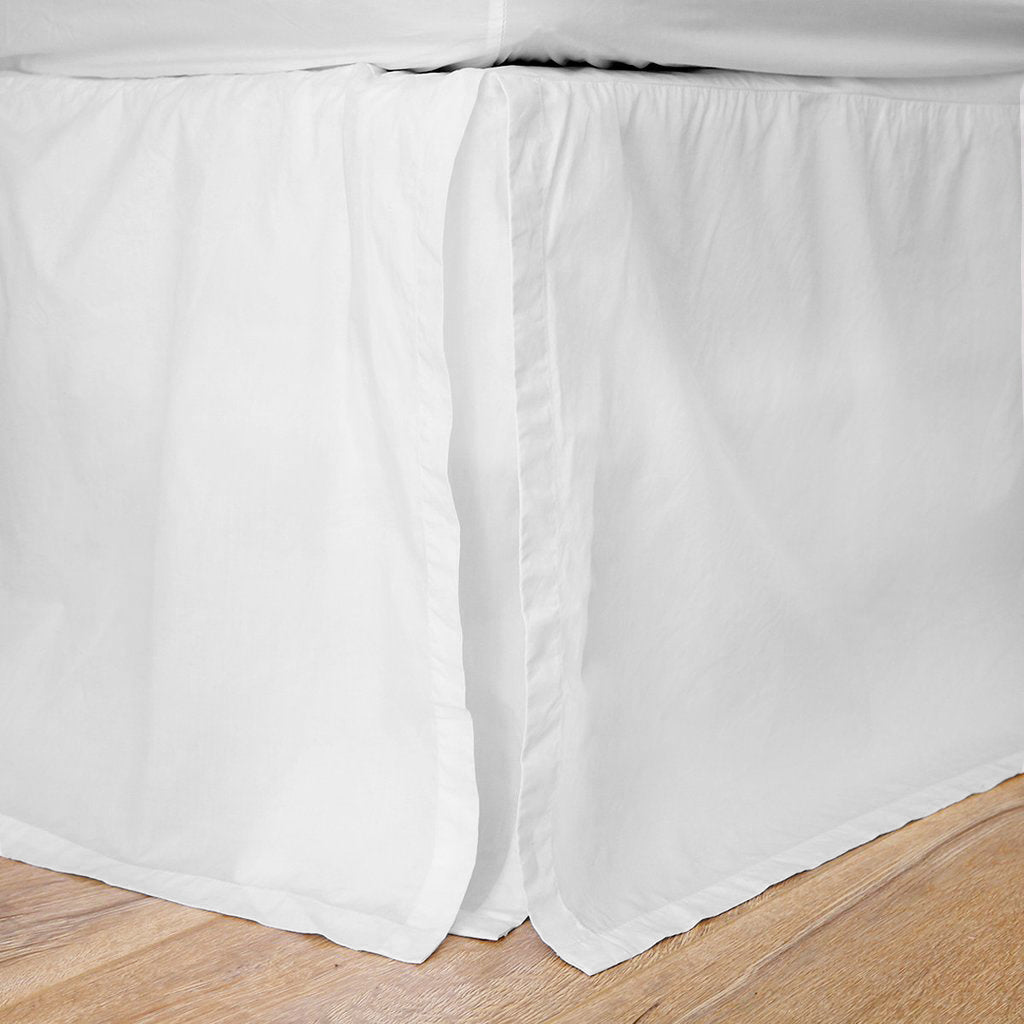 white cotton pleated bed skirt