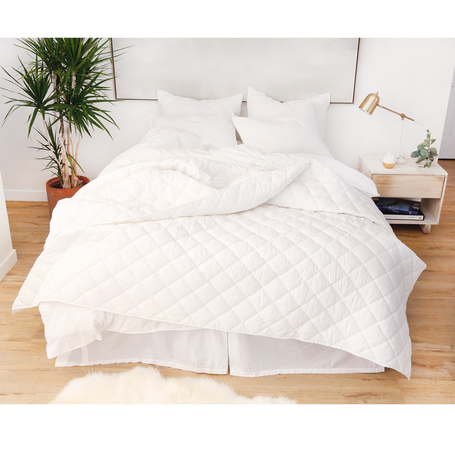 Cotton Quilt/Coverlet Set - White
