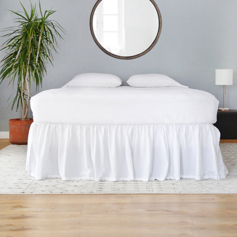 white cotton gathered bed skirt