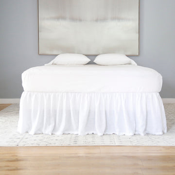 Linen Gathered Bed Skirt - White