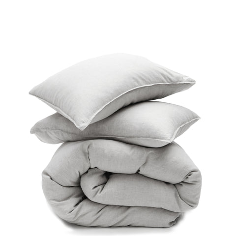 light grey linen duvet