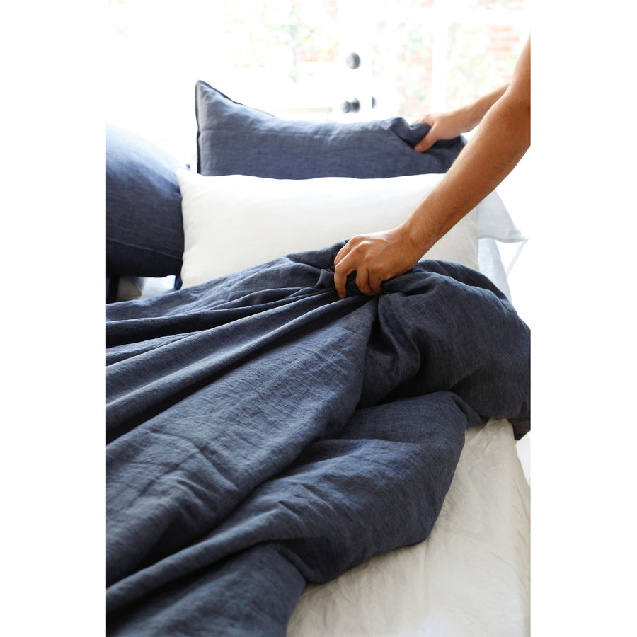 linen heather navy duvet