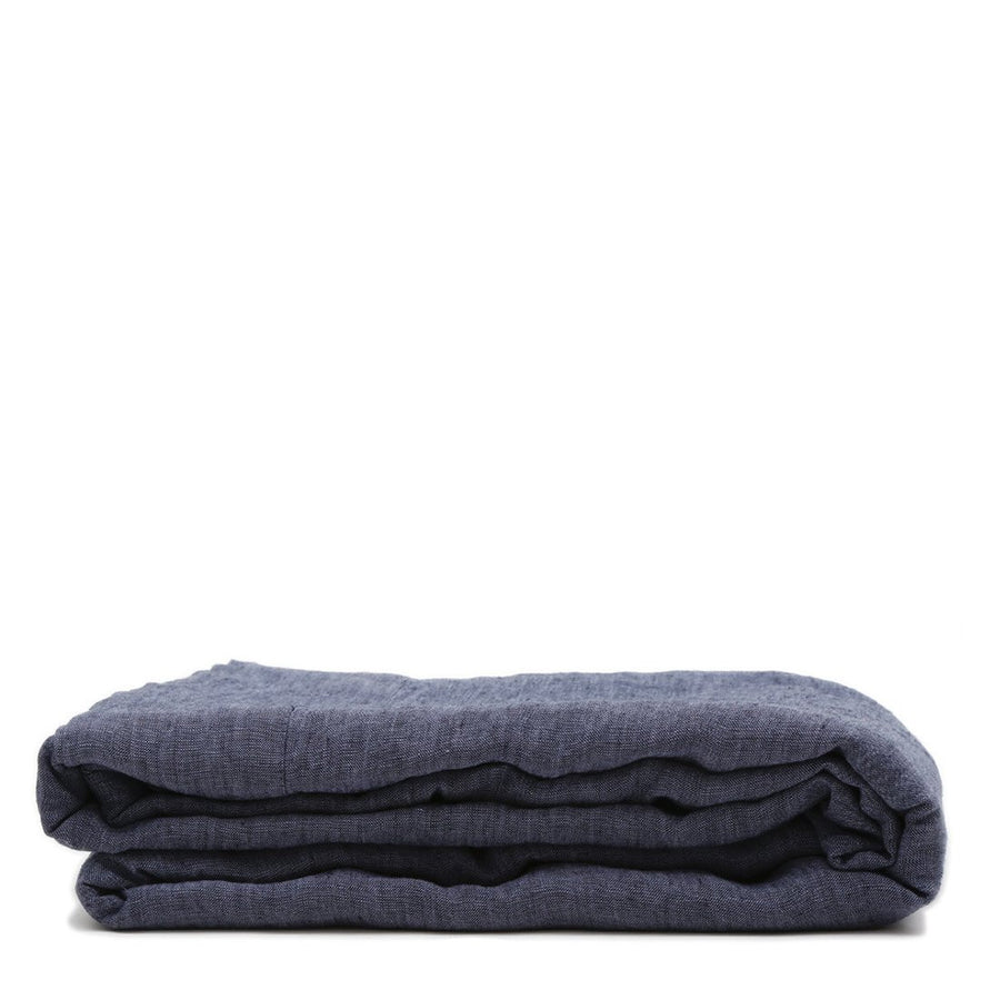 linen flat sheet heather navy