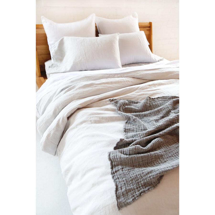 Linen Duvet + Pillow Shams - Light Grey