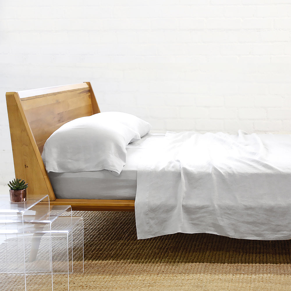 Linen  Sheet + Pillowcases - Light Grey