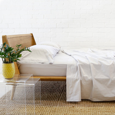 Cotton Sheet + Pillowcases - Light Grey