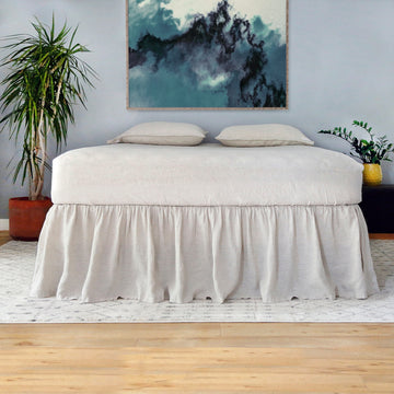 Linen Gathered Bed Skirt - Natural