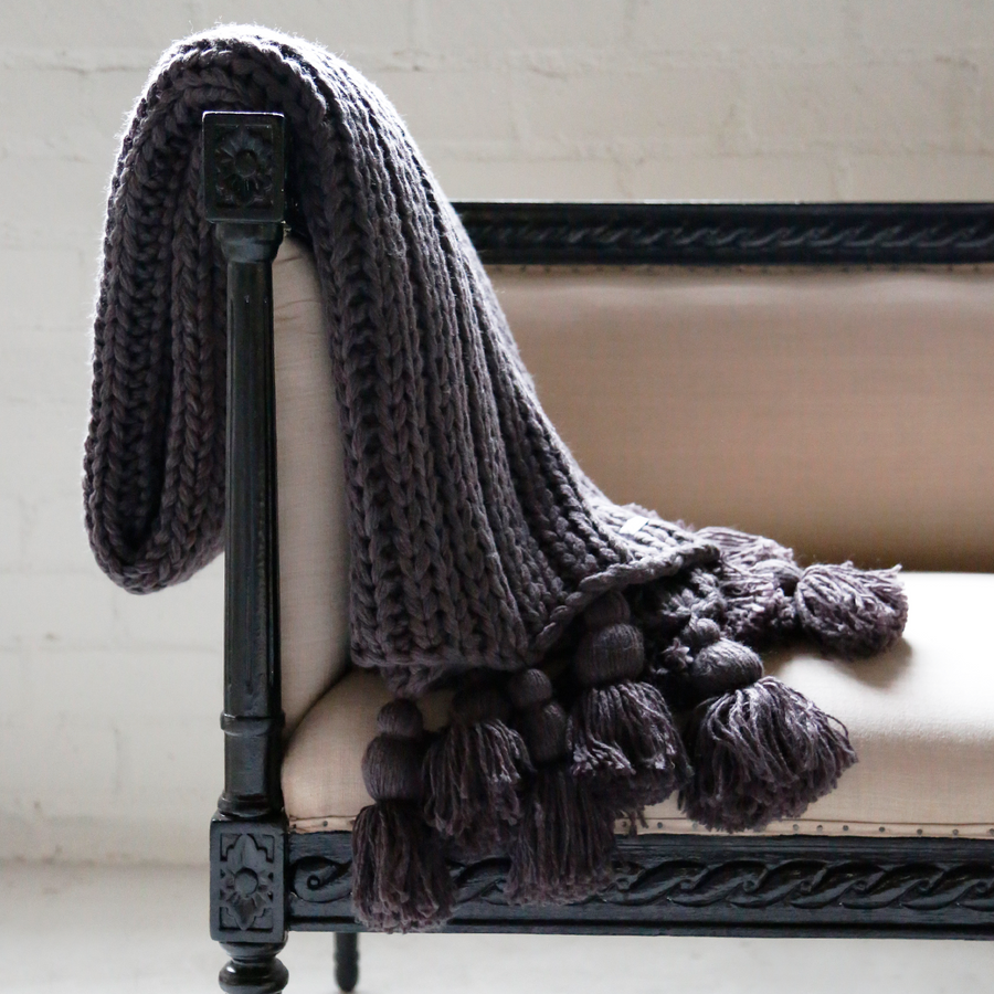 Chunky Tassel Throw - Charcoal