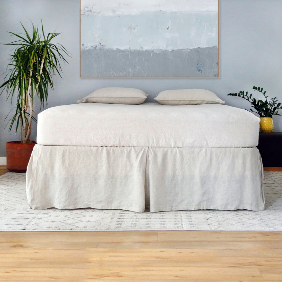 Linen Pleated Bed Skirt - Natural