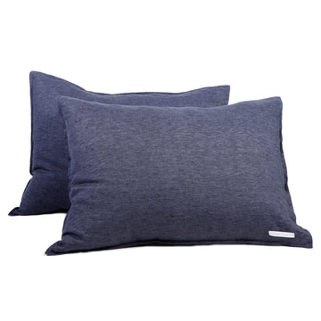 Linen Sham Set - Heather Navy