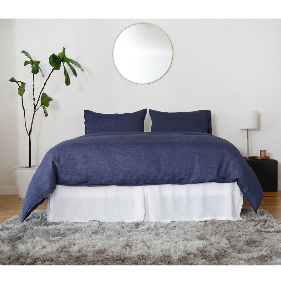 heather navy linen duvet set