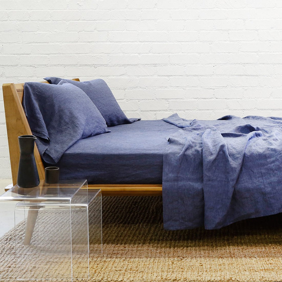 Linen Flat Sheet - Heather Navy