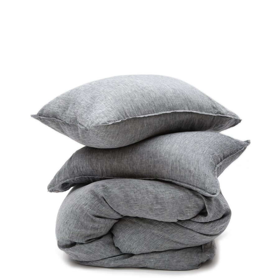 heather charcoal linen duvet