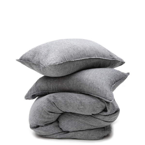 Linen Duvet Pillow Shams Heather Charcoal