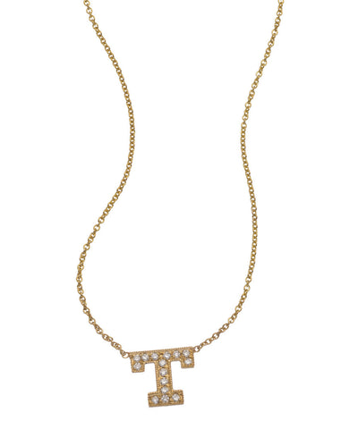 Classic Diamond Initial Pendant Necklace