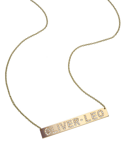 Diamond Encrusted Gold Bar Necklace
