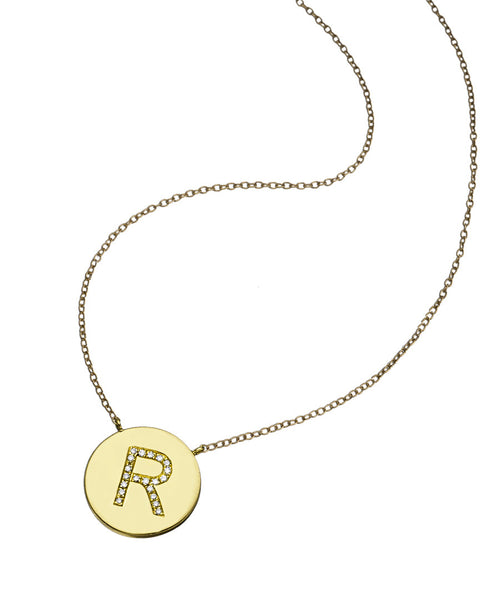 Diamond Initial Gold Disk Pendant Necklace