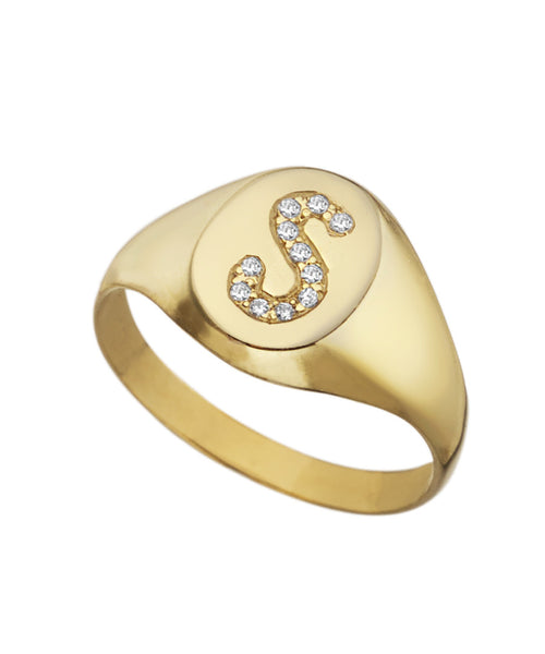 Diamond Signet Initial Ring