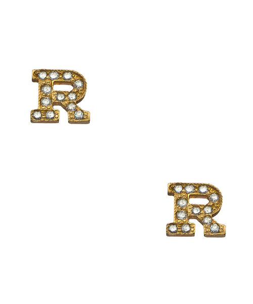 Varsity Initial Diamond Pave Earrings