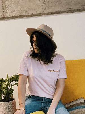 Different Is Good Embroidered Tee - In Pink