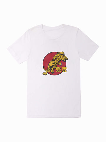Red Tiger Tee - In White