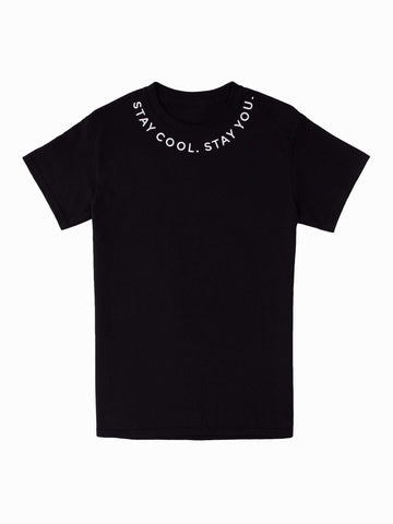 Stay You Embroidered Tee - In Black