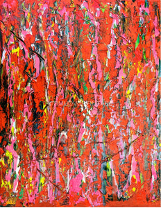 Dans le jardin Pink original abstract oil fine art landscape by #TimHovdeFineArt