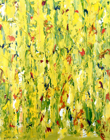 Abstract Painting + Abstract Landscape + Contemporary Painting + Garden Art + Textured Abstract Art + Original Art + Green Oil Painting + Yellow Art + Canvas Wall Art + Modern Art by #TimHovdeFineArt