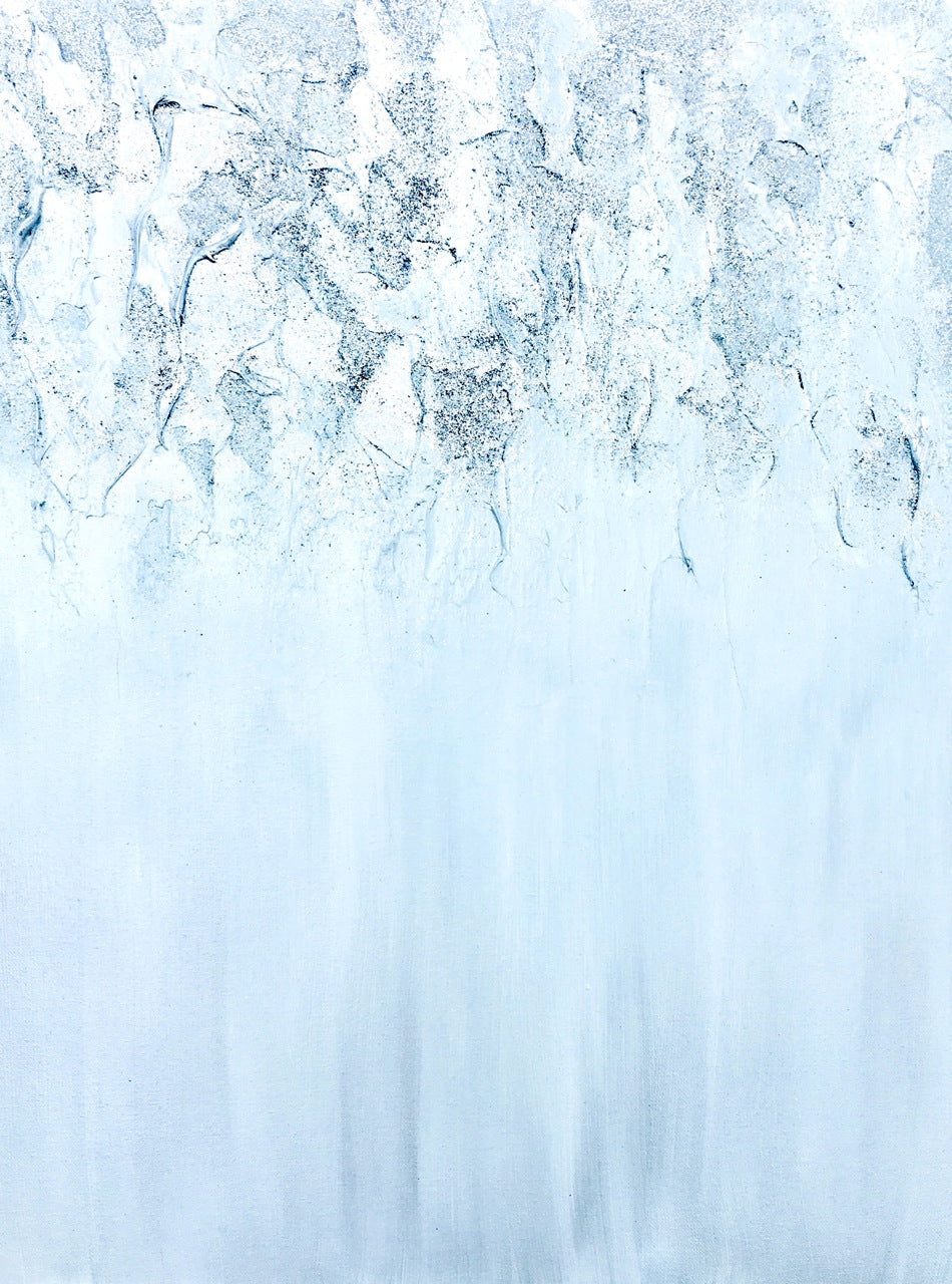Silver Waterfall Original Acrylic Glitter on Canvas Contemporary Landscape by #timhovdefineart