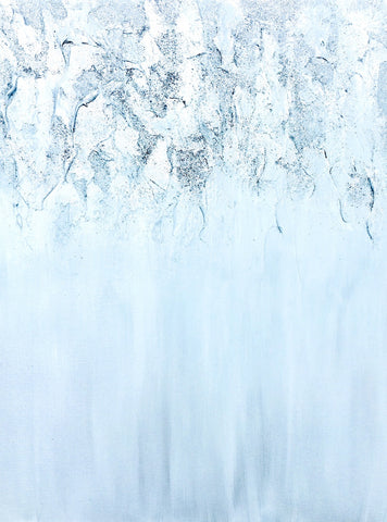 Silver Waterfall Original Acrylic Glitter Art on Canvas Contemporary Abstract Landscape by #timhovdefineart