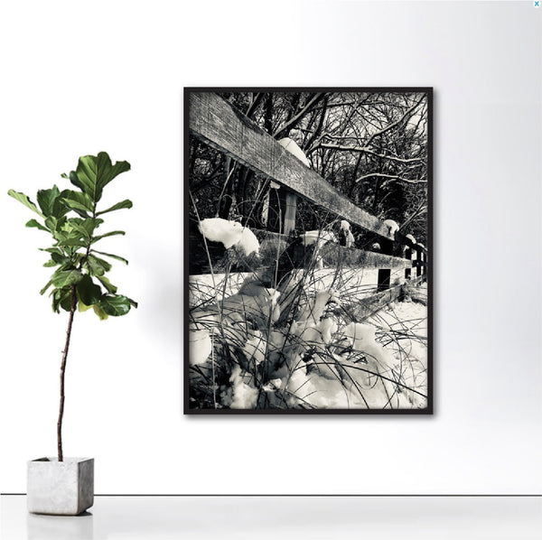Winter Fences + Black and White Photograph + Shenandoah Mountains Original Natural Landscape + Hi-Res Photo + Professionally Printed Photograph #timhovdefineart