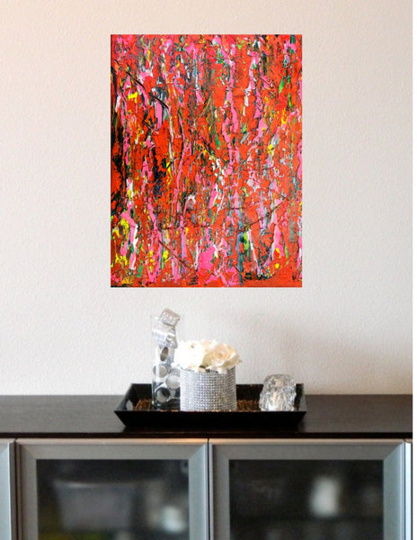 Abstract Painting + Abstract Landscape + Contemporary Painting + Garden Art + Textured Abstract Art + Red Original Art + Rose Oil Painting + Pink Art + Canvas Wall Art + Modern Art by #TimHovdeFineArt