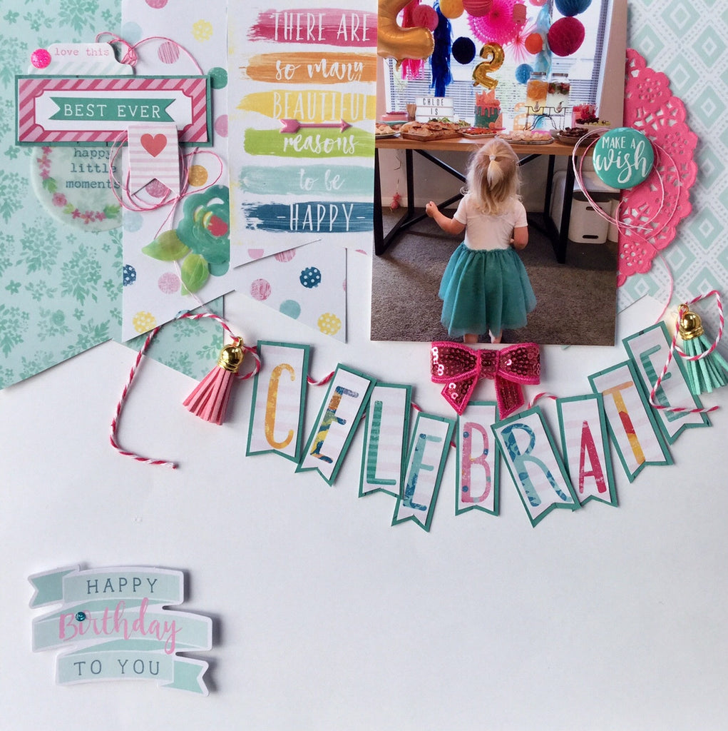 Sue's latest layout with the 'Make A Wish' Collection