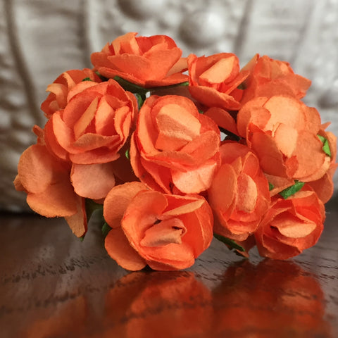 Phoenix Crafts - Orange Paper Roses 1cm
