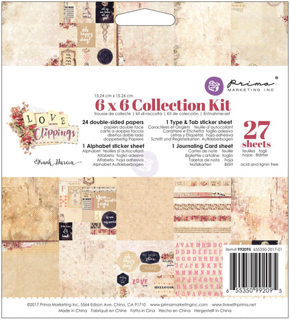 Prima Love Clippings - 6x6 Collection Kit Pad
