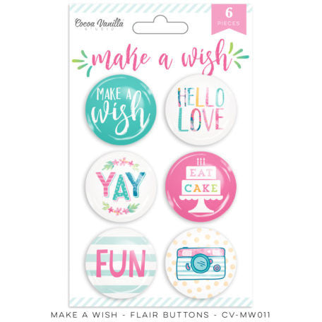 Cocoa Vanilla Studio - Make A Wish, Flair Buttons