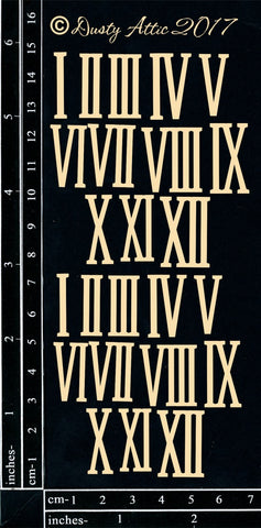 Dusty Attic - Roman Numerals chipboard