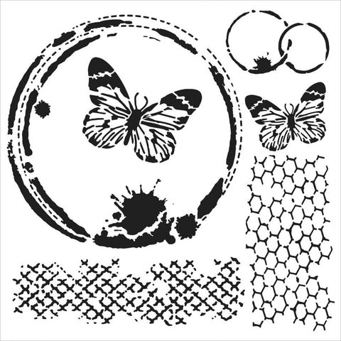 TCW - Butterfly Collage 6x6 stencil