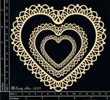 Dusty Attic - Lacey Heart Frames chipboard