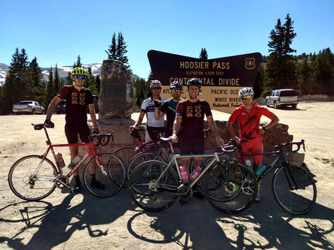 What's left of the crew on Hosier Pass Summit. All downhill to Breck from here!
