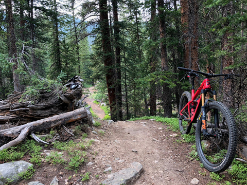 Mountain biking Miner's Creek Trail in Breckenridge, Colorado