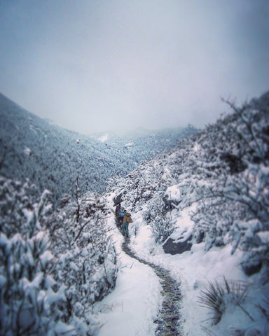 Hiking in the snow, Manitou Springs, Colorado.