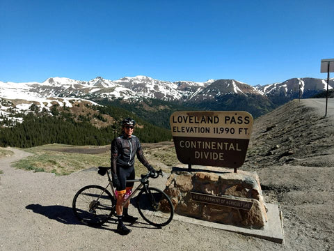 Atop the first big climb of the day -- Loveland Pass