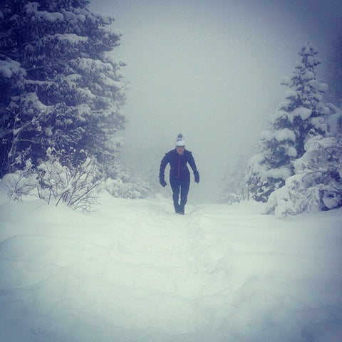 Hiking the Manitou Incline in fresh snow