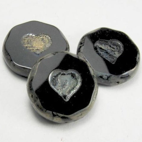 21mm Black Czech Glass Heart Coin Beads Silver Metallic Picasso Finish 3 pcs. H-1062-B