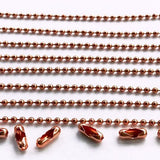 Solid Copper Ball Chain Chose Your Length Soldered 2mm Ball Unfinished Chain W/Connectors GCC-128