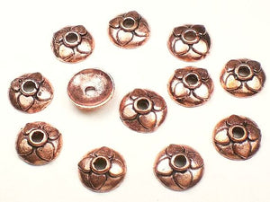 11mm Solid Copper Bead Caps 4 Petal Bead Caps Low Dome Large Hole 12 pcs. GC-332A