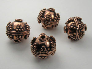 13mm Round Ornate Genuine Copper Beads Gorgeous 4 pcs. GC-353