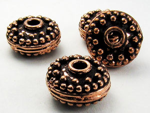 14mm Genuine Copper Coin Bead, Large Hole Copper Bead 4 pcs. GC-370