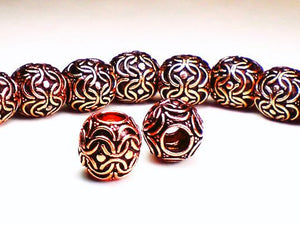13mm Genuine Copper Large Hole Barrel Beads 2 pcs. GC-235